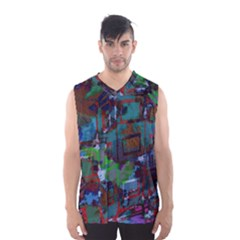 Dark Watercolor On Partial Image Of San Francisco City Mural Usa Men s Basketball Tank Top by Simbadda