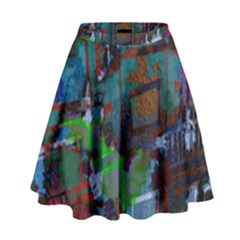 Dark Watercolor On Partial Image Of San Francisco City Mural Usa High Waist Skirt by Simbadda