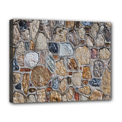 Multi Color Stones Wall Texture Canvas 14  X 11  by Simbadda
