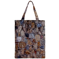 Multi Color Stones Wall Texture Zipper Classic Tote Bag by Simbadda