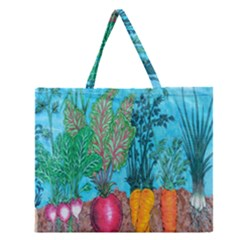 Mural Displaying Array Of Garden Vegetables Zipper Large Tote Bag by Simbadda