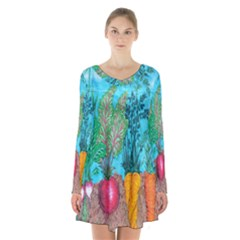 Mural Displaying Array Of Garden Vegetables Long Sleeve Velvet V Neck Dress