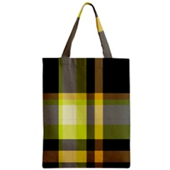 Tartan Pattern Background Fabric Design Zipper Classic Tote Bag by Simbadda