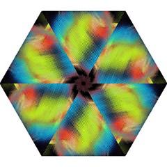 Punctulated Colorful Ground Noise Nervous Sorcery Sight Screen Pattern Mini Folding Umbrellas by Simbadda