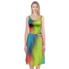 Punctulated Colorful Ground Noise Nervous Sorcery Sight Screen Pattern Midi Sleeveless Dress