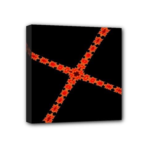 Red Fractal Cross Digital Computer Graphic Mini Canvas 4  X 4  by Simbadda
