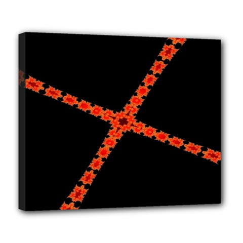 Red Fractal Cross Digital Computer Graphic Deluxe Canvas 24  X 20   by Simbadda