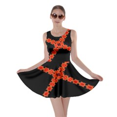 Red Fractal Cross Digital Computer Graphic Skater Dress