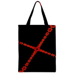 Red Fractal Cross Digital Computer Graphic Zipper Classic Tote Bag by Simbadda