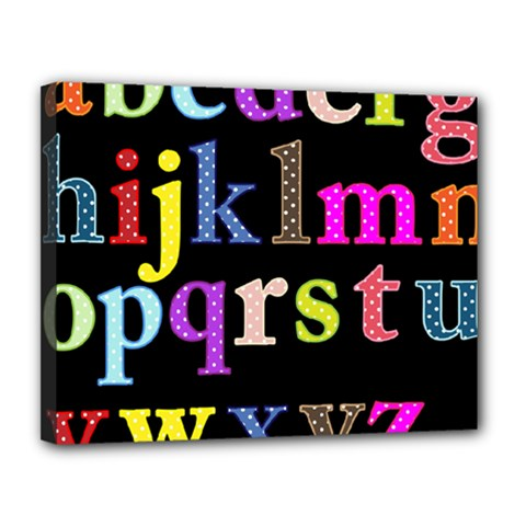 Alphabet Letters Colorful Polka Dots Letters In Lower Case Canvas 14  x 11