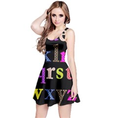 Alphabet Letters Colorful Polka Dots Letters In Lower Case Reversible Sleeveless Dress