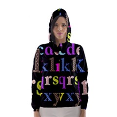 Alphabet Letters Colorful Polka Dots Letters In Lower Case Hooded Wind Breaker (Women)