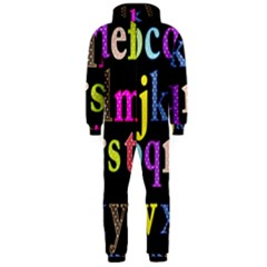 Alphabet Letters Colorful Polka Dots Letters In Lower Case Hooded Jumpsuit (men)  by Simbadda