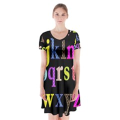 Alphabet Letters Colorful Polka Dots Letters In Lower Case Short Sleeve V-neck Flare Dress