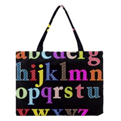 Alphabet Letters Colorful Polka Dots Letters In Lower Case Medium Tote Bag