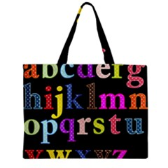 Alphabet Letters Colorful Polka Dots Letters In Lower Case Medium Zipper Tote Bag