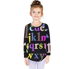 Alphabet Letters Colorful Polka Dots Letters In Lower Case Kids  Long Sleeve Tee