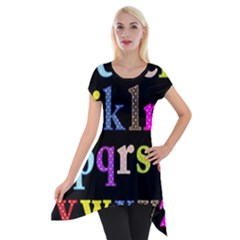 Alphabet Letters Colorful Polka Dots Letters In Lower Case Short Sleeve Side Drop Tunic by Simbadda