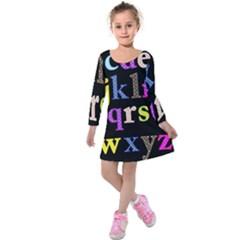 Alphabet Letters Colorful Polka Dots Letters In Lower Case Kids  Long Sleeve Velvet Dress by Simbadda