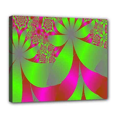 Green And Pink Fractal Deluxe Canvas 24  X 20   by Simbadda
