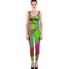 Green And Pink Fractal Onepiece Catsuit