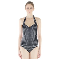 Abstract Of Shutter Lines Halter Swimsuit