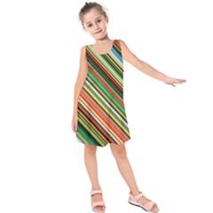 Colorful Stripe Background Kids  Sleeveless Dress