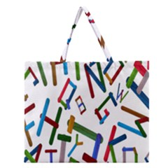 Colorful Letters From Wood Ice Cream Stick Isolated On White Background Zipper Large Tote Bag by Simbadda