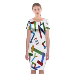 Colorful Letters From Wood Ice Cream Stick Isolated On White Background Classic Short Sleeve Midi Dress by Simbadda