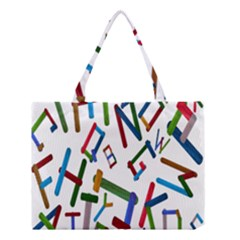 Colorful Letters From Wood Ice Cream Stick Isolated On White Background Medium Tote Bag by Simbadda