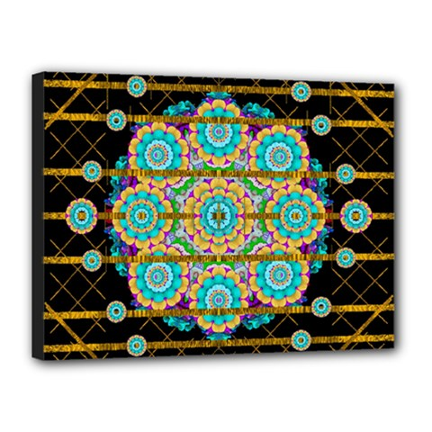 Gold Silver And Bloom Mandala Canvas 16  X 12  by pepitasart