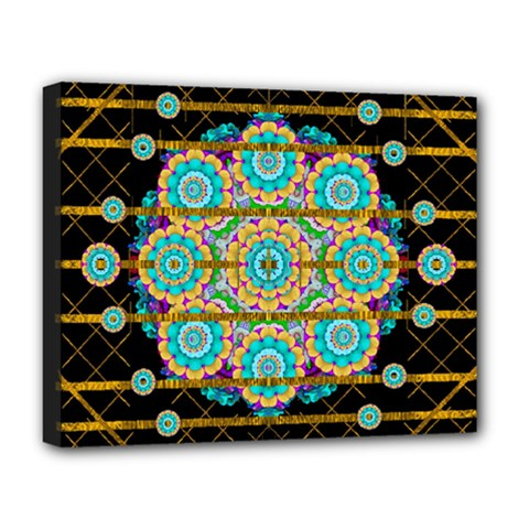 Gold Silver And Bloom Mandala Deluxe Canvas 20  X 16   by pepitasart