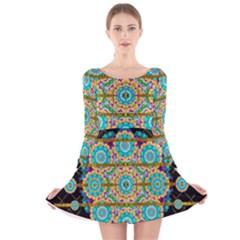 Gold Silver And Bloom Mandala Long Sleeve Velvet Skater Dress by pepitasart