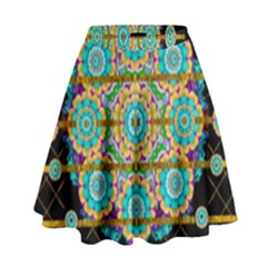 Gold Silver And Bloom Mandala High Waist Skirt by pepitasart