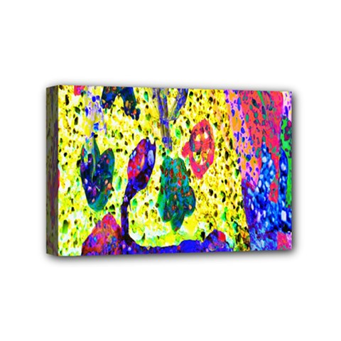 Grunge Abstract Yellow Hand Grunge Effect Layered Images Of Texture And Pattern In Yellow White Black Mini Canvas 6  X 4  by Simbadda