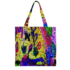Grunge Abstract Yellow Hand Grunge Effect Layered Images Of Texture And Pattern In Yellow White Black Zipper Grocery Tote Bag
