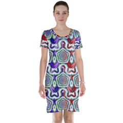Digital Patterned Ornament Computer Graphic Short Sleeve Nightdress