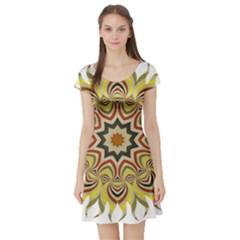 Abstract Geometric Seamless Ol Ckaleidoscope Pattern Short Sleeve Skater Dress