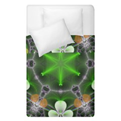 Green Flower In Kaleidoscope Duvet Cover Double Side (single Size) by Simbadda