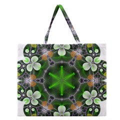 Green Flower In Kaleidoscope Zipper Large Tote Bag by Simbadda
