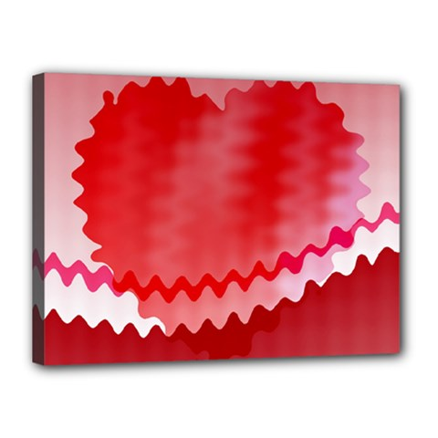 Red Fractal Wavy Heart Canvas 16  X 12  by Simbadda