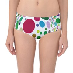 Color Ball Mid Waist Bikini Bottoms by Mariart