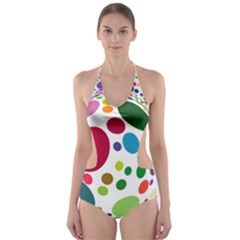 Color Ball Cut Out One Piece Swimsuit by Mariart