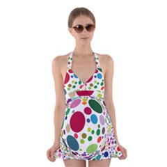Color Ball Halter Swimsuit Dress by Mariart