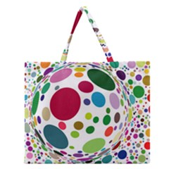 Color Ball Zipper Large Tote Bag