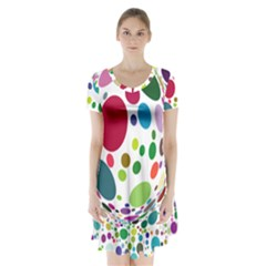 Color Ball Short Sleeve V Neck Flare Dress by Mariart