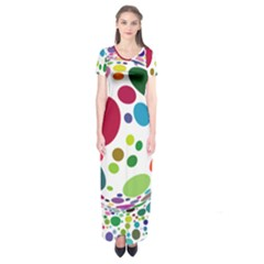 Color Ball Short Sleeve Maxi Dress