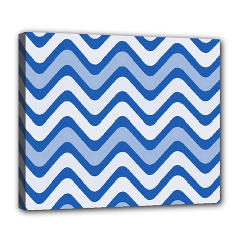 Background Of Blue Wavy Lines Deluxe Canvas 24  X 20   by Simbadda