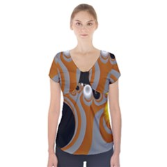 Classic Mandelbrot Dimpled Spheroids Short Sleeve Front Detail Top by Simbadda