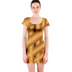 Fractal Background With Gold Pipes Short Sleeve Bodycon Dress